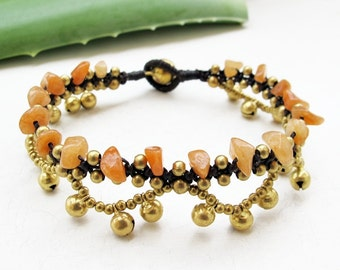 Boho Bracelet Little Cascade Brass Bell with  Honey Jade