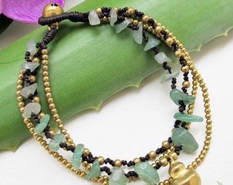 Multi Strand  Aventurine and Brass Bead Bracelet