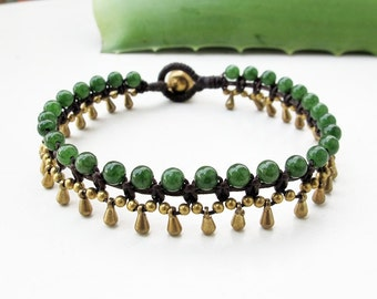Little Gaging Brass Aventurine  Water Drop Woven Bracelet