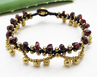 Boho Bracelet Little Cascade Brass Bell with  Garnet