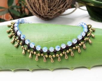 Little Gaging Brass  Opal   Water Drop Woven Bracelet