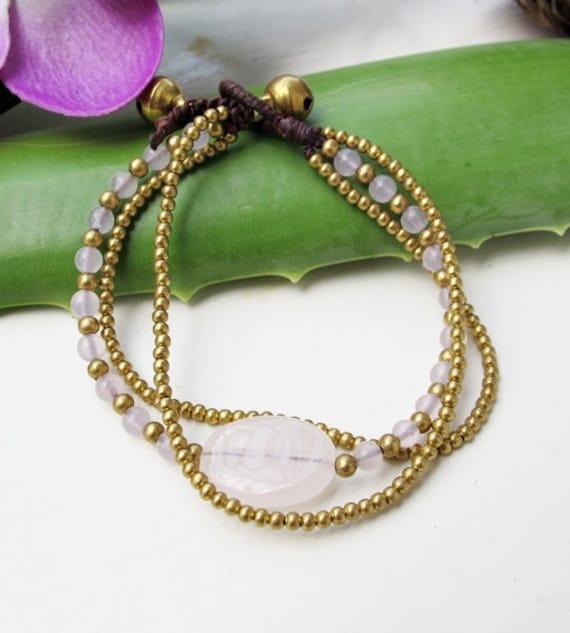 Charm Oval  Rose Quartz Stone Wrap Bracelet