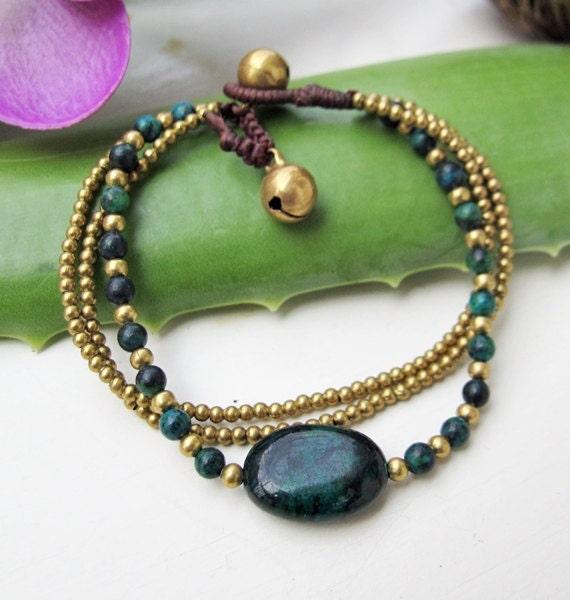Charm Oval  Chrysocolla Stone Wrap Bracelet