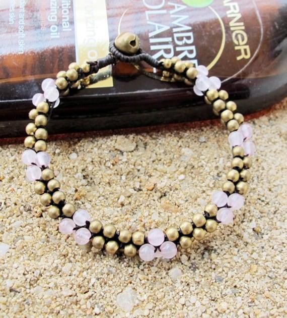 Round Rose Quartz Beaded Stud Bracelet