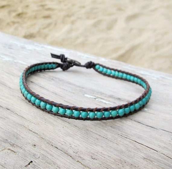 Single Wrap Leather Anklet with Turquoise Stone