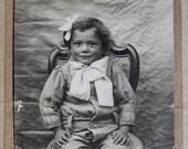 Circa 1880s Antique French Carte de Visite portrait real photo of a young girl CDV
