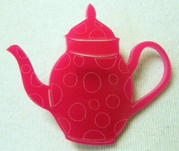 Pink Acrylic Teapot Brooch