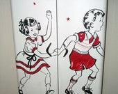 Vintage Metal Cabinet with Hand-Painted Dick and Jane / Jack and Jill Motif