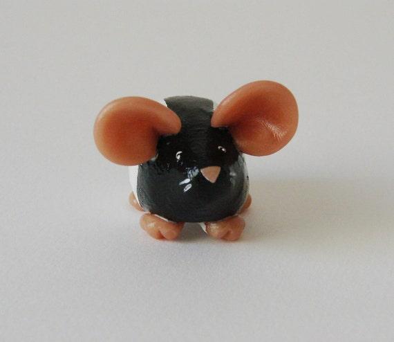Fancy Rat Ornament Black Hooded Dumpy Rat Sculpture