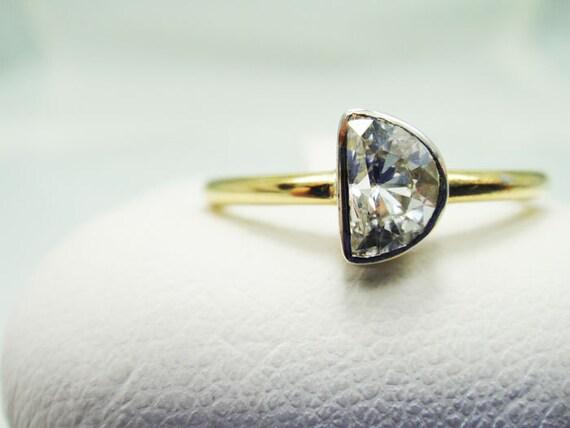 Half Moon Diamond Engagement Ring 14k Yellow Gold