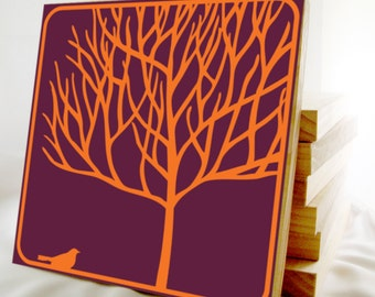 Tree with Bird Wall Art- Multicolor decorative wooden tile- custom colors