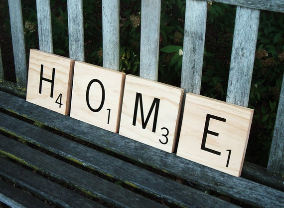 Decorative Scrabble Letters 4 Tiles By 15tangerines On Etsy