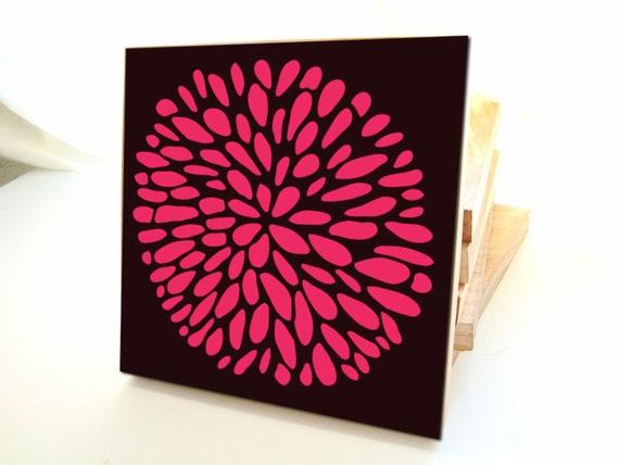 Flower Wall Art - One multlicolor block- customizable colors