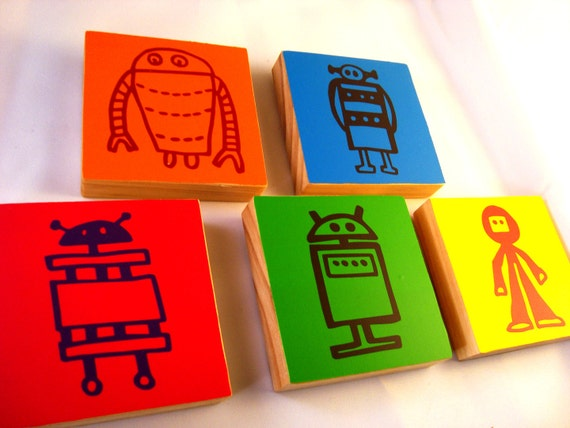 Robot Art- Set of FIVE colorful wooden robot blocks