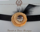 Custom Listing for Nicole - Black and Gold Satin Flower and Feather Headband- Newborn/Infant/Girl
