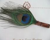 Single Peacock Feather Hair Clip