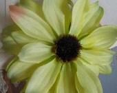 Flower Clip - Medium Pale Green Natural Silk Flower Hair Clip