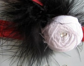 Valentine Newborn Headband - White Dupioni Silk Rolled Rosette on Red Elastic Band with Black Marabou and Swarovski Crystal Accents