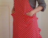 Women apron red with white polka dots