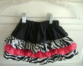 Zebra print girls skirt, ruffle skirt, Zebra hot pink skirt