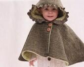 girls cape, girls poncho, girls tweed coat