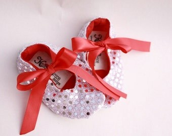 Baby girl Christmas shoes, silver sequin red ribbon mary jane shoes