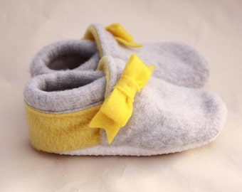 baby girl shoes yellow and gray soft sole shoes