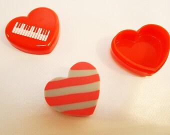 Cased Japanese Heart Eraser.80s