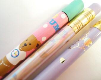 Set of three kawaiiii Pencils.Vintage Sanrio