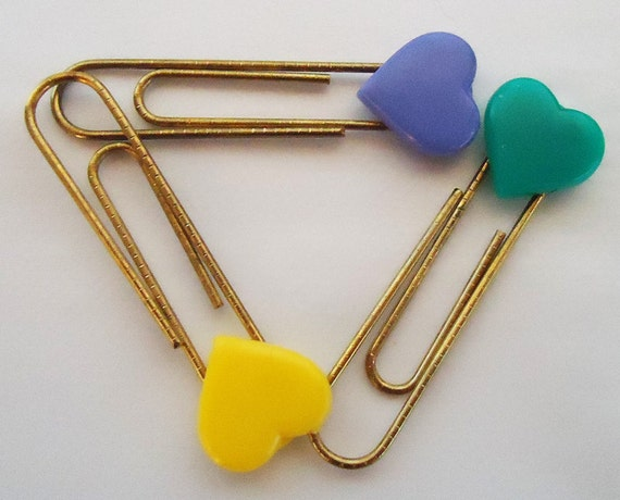 Three Japanese Heart Paper Clips. 1980s