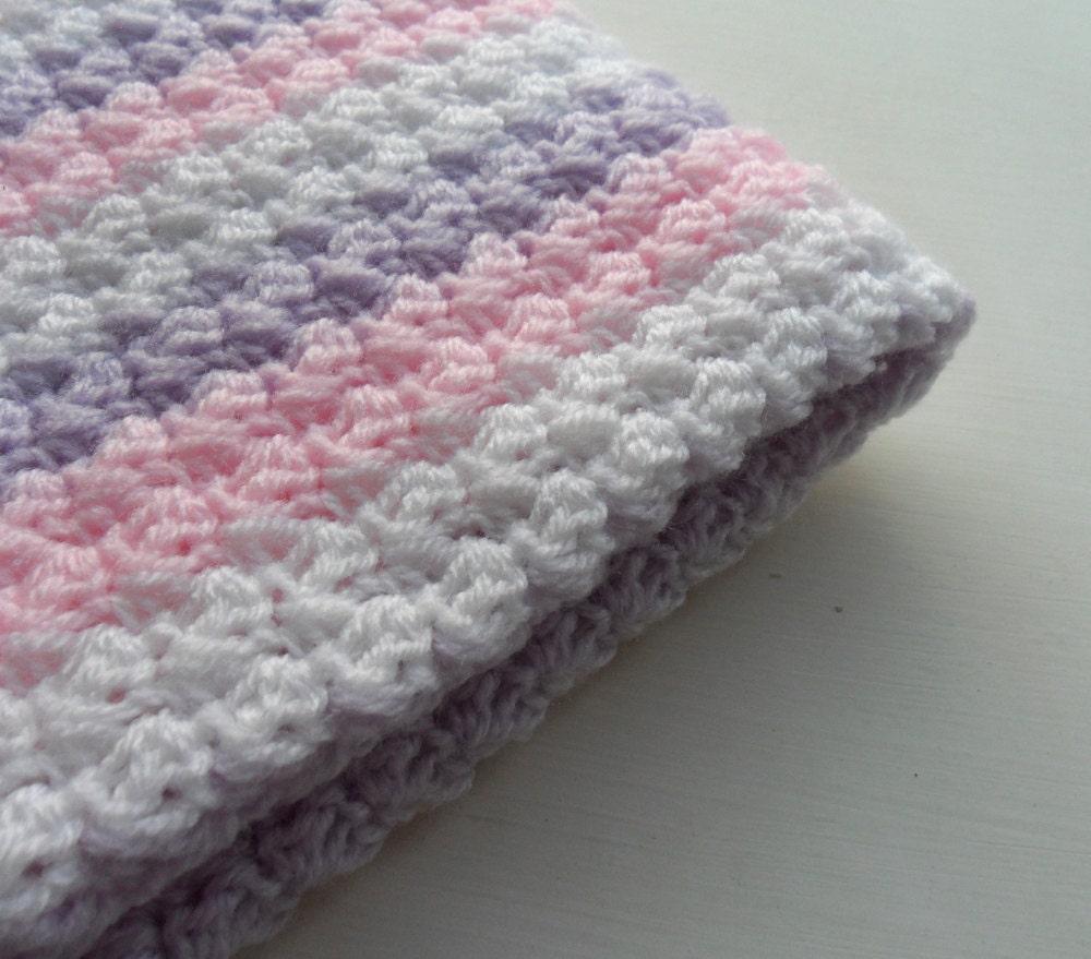 crochet baby blanket baby pink purple white baby shower gift. Black Bedroom Furniture Sets. Home Design Ideas