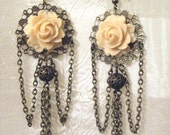 Ivory Peach Rose - Antiqued Bronze Chandelier Earrings - Victorian - Bridal