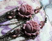 Peach Rose - Antiqued Bronze Chandelier Earrings - Gothic Victorian