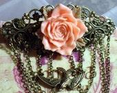 Victorian inspired Floral Hair Barrette - Peach