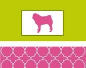 Pug Note Cards-Lantern Pattern-Pink & Green-Set of 10