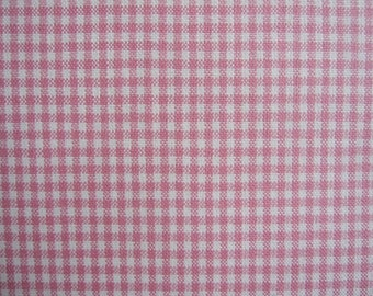 SALE...decorator fabric, woven fabric, pink and off white gingham fabric 1 yard