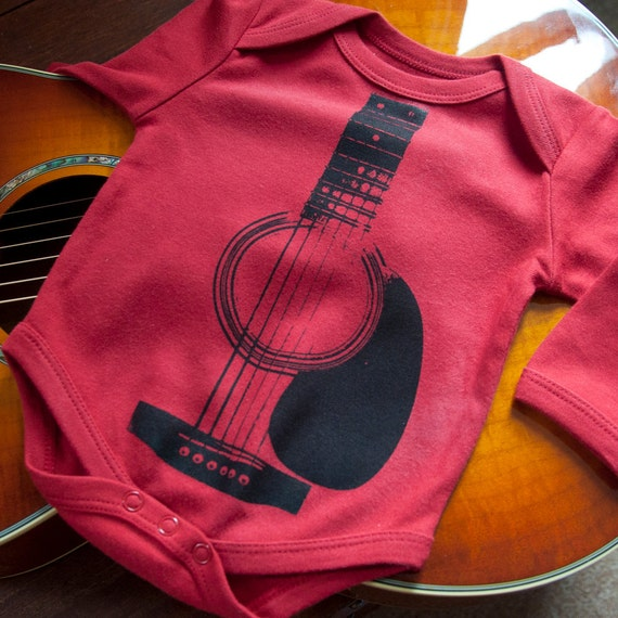 Acoustic Guitar Organic Cotton Long Sleeved Onesie (0-3 Months)