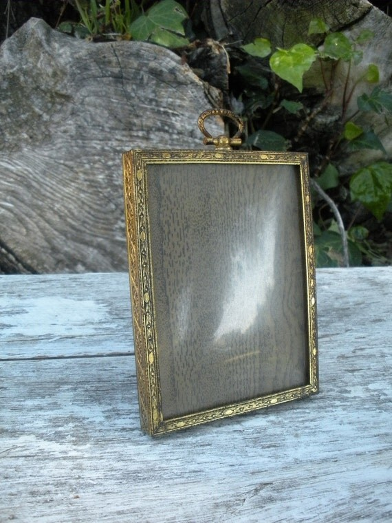 VINTAGE Domed Glass Metal Picture Frame