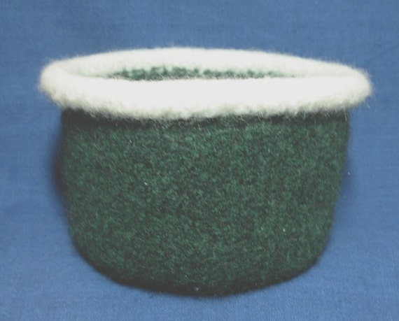 Green & Cream Felted Bowl