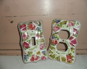 Set of  Rose Art Mosaic Pink Light Switch Cover  and Plug Cover OOAK FREE Shipping