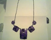 Vibrant purple glass crafted necklace and earring set