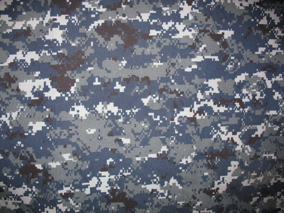 Navy Digital Camouflage Fabric Sold By The Yard