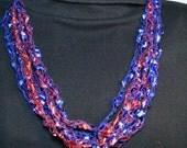 Handmade Crocheted Adjustable Trellis Ladder Necklace - Kansas University KU Jayhawk Colors -Red and Blue