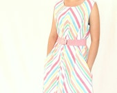 Vintage Handmade Pastel Striped Sundress - FREE DOMESTIC SHIPPING