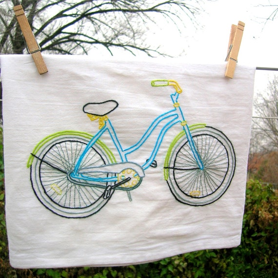 Dish Towel Sale: SALE 50% OFF Bicycle Dish Towel By KimberlyDanielle On Etsy