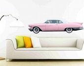 Classic Car Wall Decals 1958 Pink Cadillac Eldorado Biarritz, Pink Car Decal, classic car sticker, Garage Wall Decor, Girls Room Decor