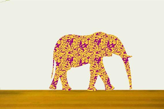 Elephant Wall Decal Sticker with Decorative Fills, Nursery Decor Decal, Safari Animal sticker, Elephant Wall Art, Zoo Animal Decal
