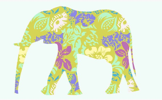 Items Similar To Elephant Fabric Wall Decals With Flower