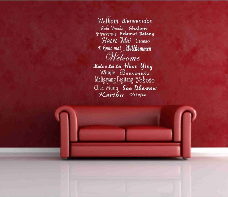 welcome decals in different languages vinyl wall global by