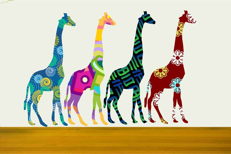 Colorful Giraffes Giraffe Wall Decals Nursery Wall Decor